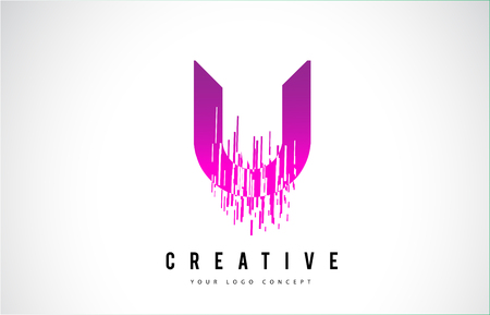 U Letter Logo Design with Purple Colors and Shattered Creative Particle Lines. Stock Illustratie