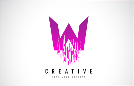 W Letter Logo Design with Purple Colors and Shattered Creative Particle Lines. Çizim