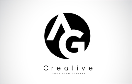 Letter AG icon design inside a black circle. Creative lettering icon vector illustration.