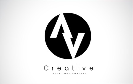 AV Creative Letter Initialization Design inside a Black Circle.