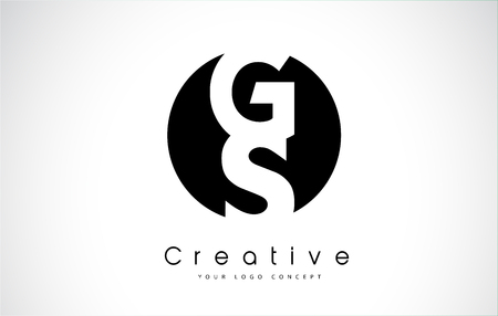 GS Letter Logo Design inside a Black Circle. Creative Lettering Logo Vector Illustration.