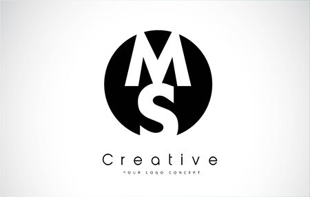 Letter MS icon design inside a black circle. Creative lettering icon vector illustration.