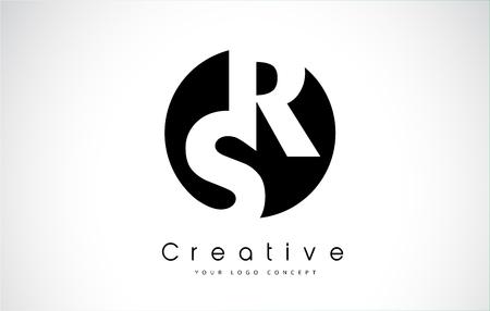 RS Letter Logo Design inside a Black Circle. Creative Lettering Logo Vector Illustration.
