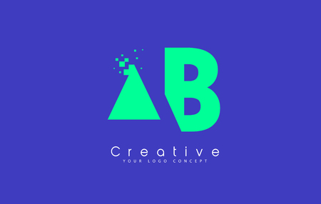 AB Letter Logo Design With Negative Space Concept in Blue and Green Colors Vector