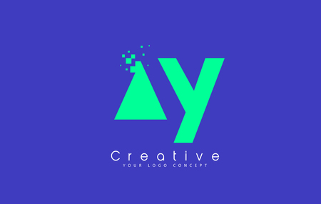 Letter AY icon design with negative space concept in blue and green colors. Vector illustration. Illustration