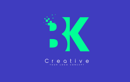BK Letter Logo Design With Negative Space Concept in Blue and Green Colors Vector