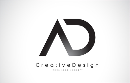 AD Letter Logo Design in Black Colors. Creative Modern Letters Vector Icon Logo Illustration. Stok Fotoğraf - 97630053