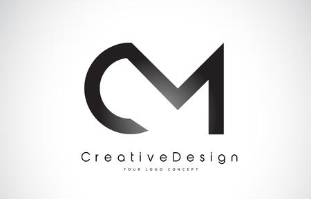 CM C M Letter Logo Design in Black Colors. Creative Modern Letters Vector Icon Logo Illustration.
