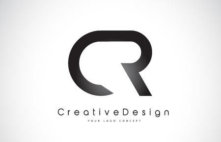 CR C R Letter Logo Design in Black Colors. Creative Modern Letters Vector Icon Logo Illustration. Vectores