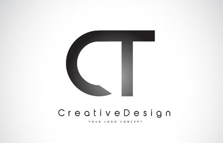 CT C T Letter Logo Design in Black Colors. Creative Modern Letters Vector Icon Logo Illustration. Illustration