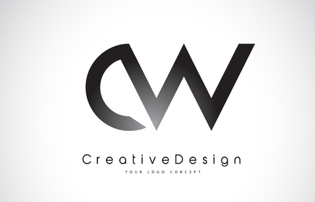 CW C W Letter Logo Design in Black Colors. Creative Modern Letters Vector Icon Logo Illustration.