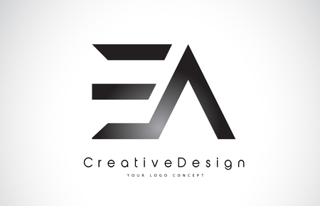 EA E A Letter Logo Design in Black Colors. Creative Modern Letters Vector Icon Logo Illustration.