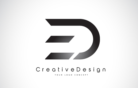 ED E D Letter Logo Design in Black Colors. Creative Modern Letters Vector Icon Logo Illustration.  イラスト・ベクター素材