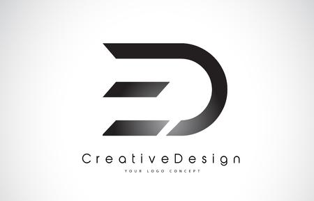 ED E D Letter Logo Design in Black Colors. Creative Modern Letters Vector Icon Logo Illustration. Vettoriali