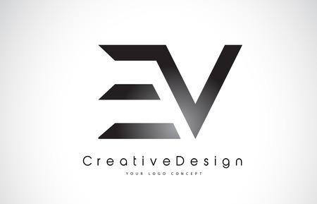 Letter EV icon design in black colors. Creative modern letters vector icon illustration.