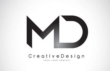 Letter MD icon design in black colors. Creative modern letters vector icon illustration.