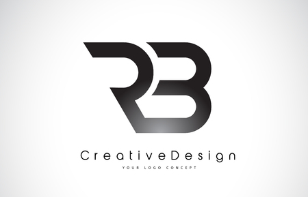 RB Letter Logo Design in Black Colors vector illustration