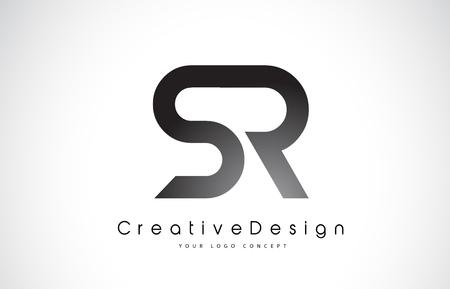 SR Letter Logo Design in Black Colors vector illustration Ilustração