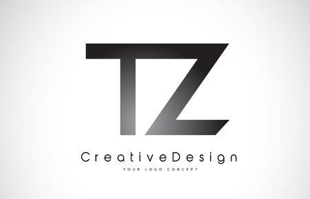Letter TZ icon design in black colors. Creative modern letters vector icon illustration. Vektoros illusztráció