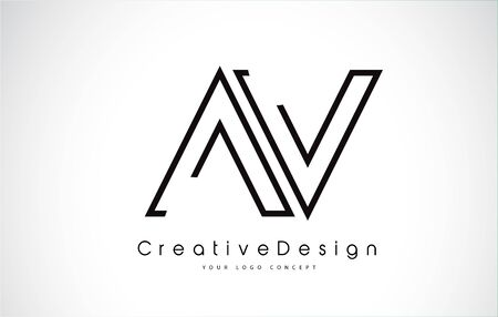 AV Letter Logo Design in Black Colors. Creative Modern Letters Vector Icon Logo illustration.