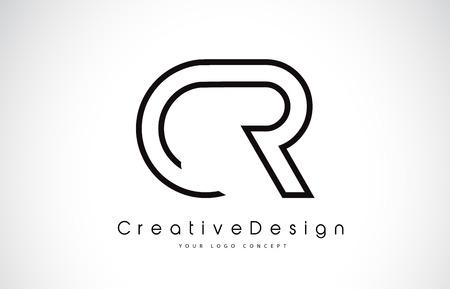 CR C R Letter icon Design in Black Colors. Creative Modern Letters Vector Icon Logo Illustration.