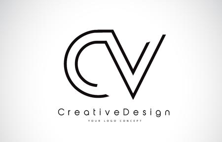 CV C V Letter Logo Design in Black Colors. Creative Modern Letters Vector Icon Logo illustration. Illustration