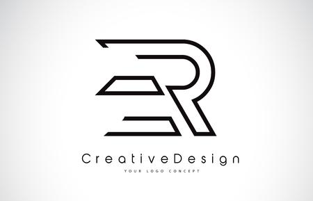 ER E R Letter. Design in Black Colors. Creative Modern Letters Vector Icon Logo illustration.