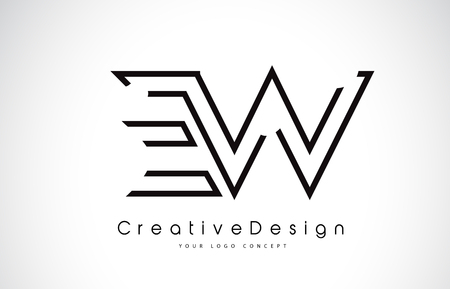 EW E W Letter. Design in Black Colors. Creative Modern Letters Vector Icon Logo illustration. Çizim