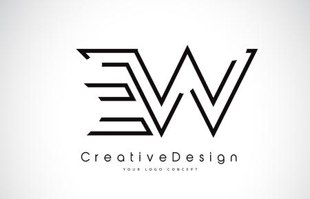 EW E W Letter. Design in Black Colors. Creative Modern Letters Vector Icon Logo illustration. 일러스트