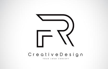 FR F R Letter. Design in Black Colors. Creative Modern Letters Vector Icon Logo illustration. Stock Vector - 98412821