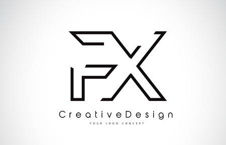 FX F X Letter. Design in Black Colors. Creative Modern Letters Vector Icon Logo illustration.