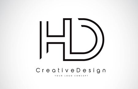HD H D Letter. Design in Black Colors. Creative Modern Letters Vector Icon Logo illustration.
