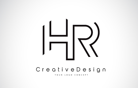 HR H R Letter. Design in Black Colors. Creative Modern Letters Vector Icon Logo illustration.