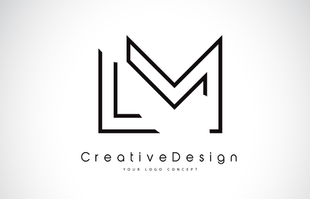 LM L M Letter. Design in Black Colors. Creative Modern Letters Vector Icon Logo illustration.