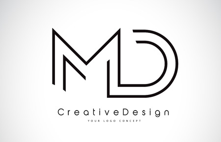 MD M D Letter. Design in Black Colors. Creative Modern Letters Vector Icon Logo illustration. Illustration