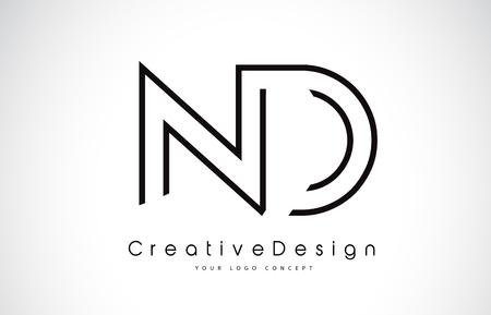 ND N D Letter. Design in Black Colors. Creative Modern Letters Vector Icon Logo illustration.