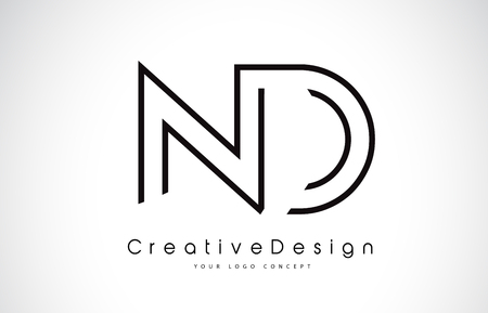 ND N D Letter. Design in Black Colors. Creative Modern Letters Vector Icon Logo illustration.