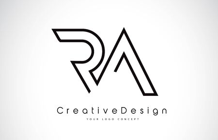 RA R A Letter icon Design in Black Colors. Creative Modern Letters Vector Icon Illustration. Ilustracje wektorowe