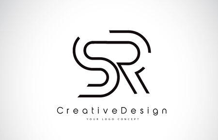 SR S R Letter. Design in Black Colors. Creative Modern Letters Vector Icon Logo illustration. Logó