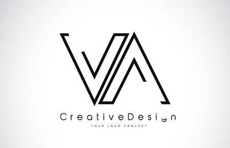 VA Letter Logo Design in Black Colors. Creative Modern Letters Vector Icon Logo Illustration.