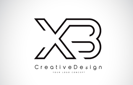 XB Letter Logo Design in Black Colors. Creative Modern Letters Vector Icon Logo Illustration.