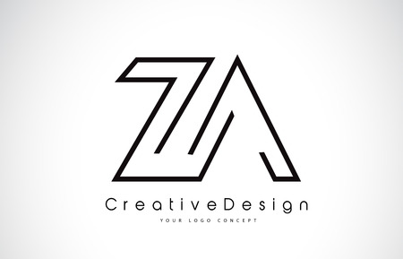 ZA Letter Logo Design in Black Colors. Creative Modern Letters Vector Icon Logo Illustration. Illustration