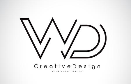 WD Letter Logo Design in Black Colors. Creative Modern Letters Vector Icon Logo Illustration.