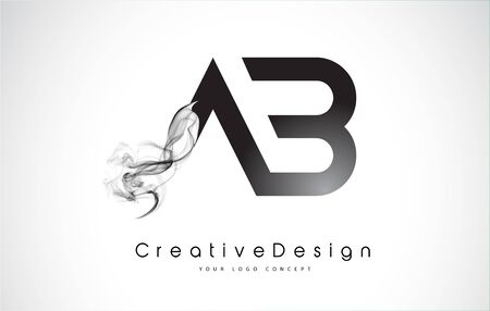 AB Letter Logo Design with Black Smoke. Creative Modern Smoke Letters Vector Icon Logo Illustration.