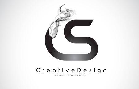 CS Letter Logo Design with Black Smoke. Creative Modern Smoke Letters Vector Icon Logo Illustration.