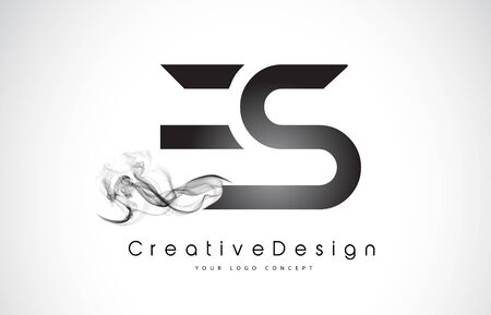 ES Letter Logo Design with Black Smoke. Creative Modern Smoke Letters Vector Icon Logo Illustration.
