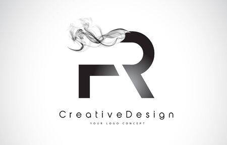 FR Letter Logo Design with Black Smoke. Creative Modern Smoke Letters Vector Icon Logo Illustration. Stock Vector - 98615749