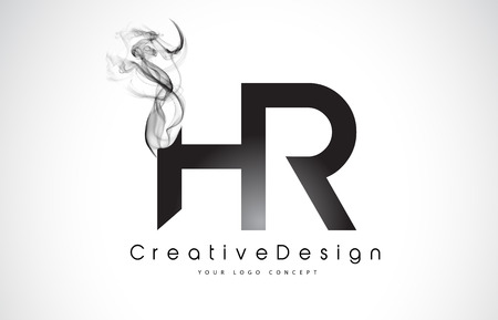 HR Letter Logo Design with Black Smoke. Creative Modern Smoke Letters Vector Icon Logo Illustration.