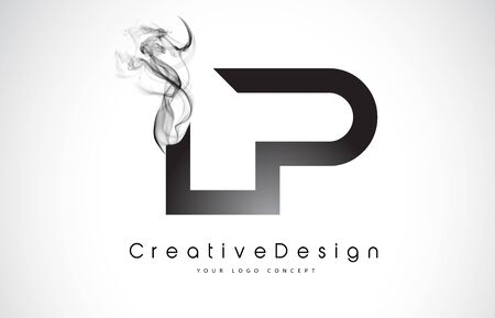 LP Letter Logo Design with Black Smoke. Creative Modern Smoke Letters Vector Icon Logo Illustration.