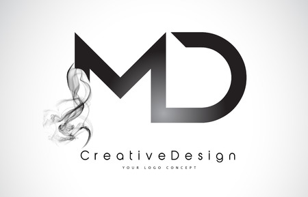 MD Letter Logo Design with Black Smoke. Creative Modern Smoke Letters Vector Icon Logo Illustration.